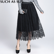 2017 New Fashion Lace Skirt Women's Black Patchwork Elastic High Waist Skirt Winter Mid Long Pleated Skirts Ladies