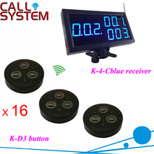 433MHZ Electronic waiter calling system 16 buzzers bell with 1 K-4-Cblue 3-digit receiver