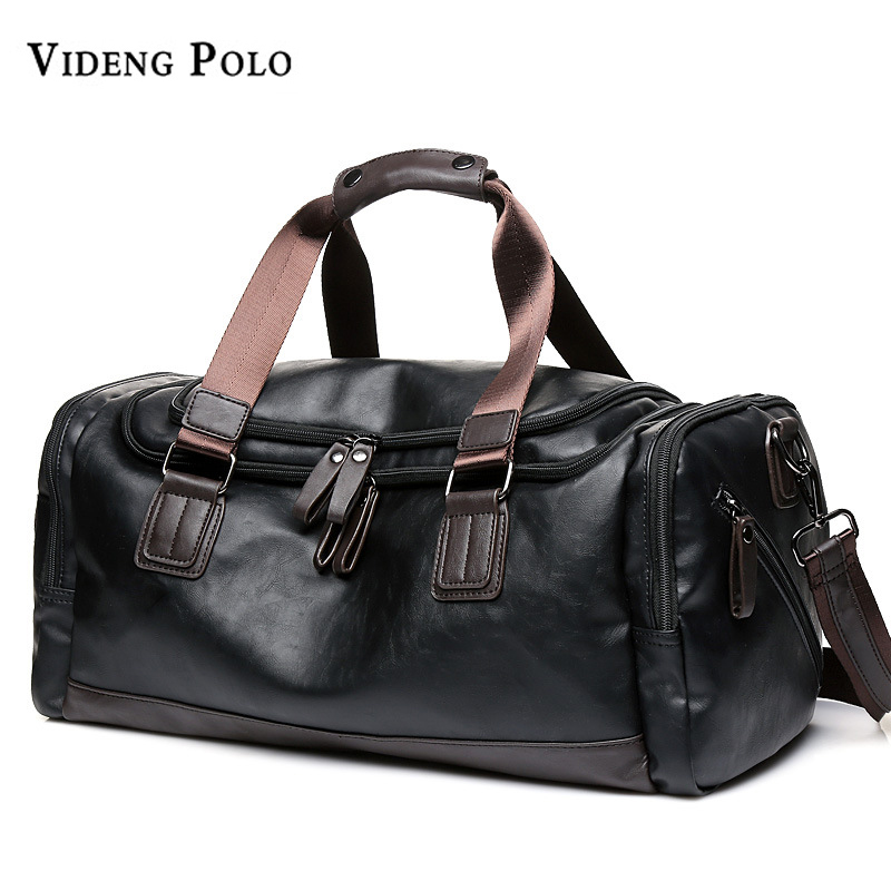 VIDENG POLO Brand Leather Men Handbag High Capacity Tote Portable Shoulder Duffle Bags Mens Casual Travel Bag Male Bolsas<br>