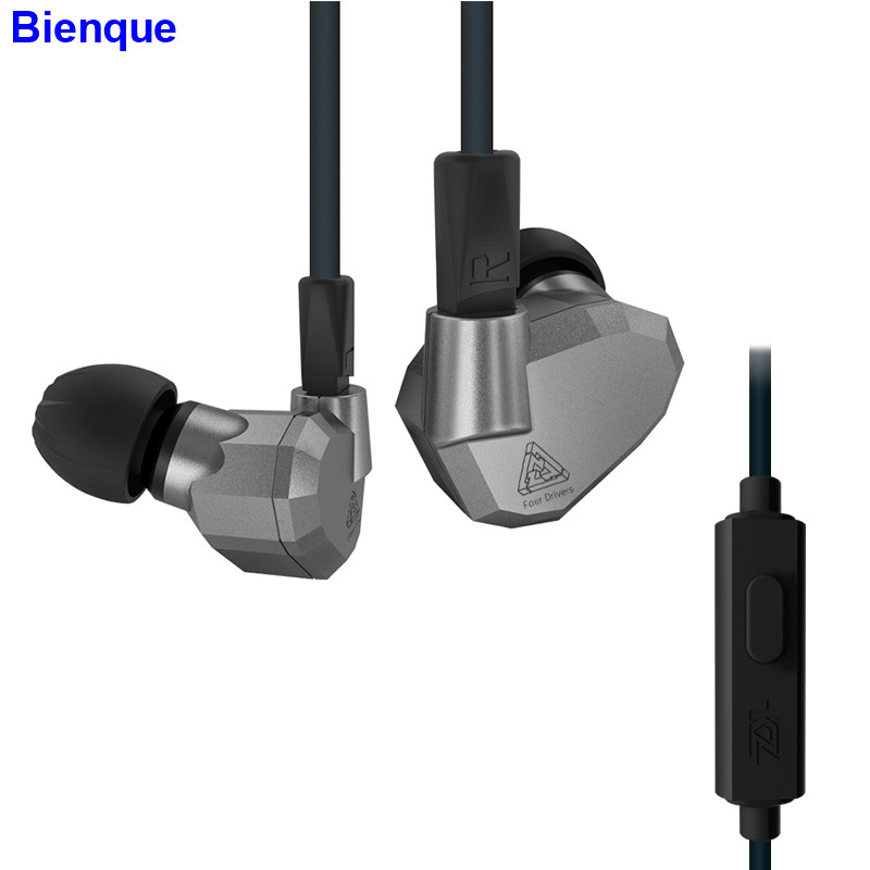 Quad Driver Headphones High Fidelity Extra Bass Earbuds Sport Earphone Noise Isolating HiFi Music Headset With Detachable Cable<br>