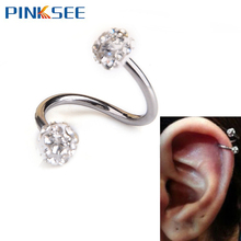 1 PC Gauge 18G S Ear Labret Ring Surgical Stainless Steel Crystal Double Balls Twisted Helix Cartilage Earring Piercing Body Je