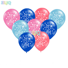 ZLJQ 10pcs/lot Printing Balloons Baby 2 Years Old Birthday Balloon Party Decoration Number 2 Happy Birthday Supplies 6D