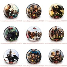 45pcs/lot How to Train Your Dragon Figures Cartoon Badges Brooch Cloth/Bags Accessories Pins Round Buttons Kid Gift Party Favors