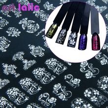 108 Design Gold Foil Flowers Stickers For Nails 6 Color Metal Bronzing Decal Metallic 3D Stamping Nail Art Sticker Tips Deco