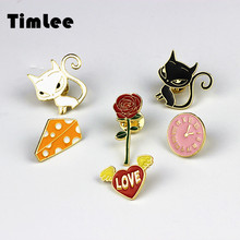 Timlee X222 New Cartoon Cute Animal Cat Rose  Heart  Watches  Cheese Metal Brooch Pins Button Pins Fashion Jewelry Wholesale