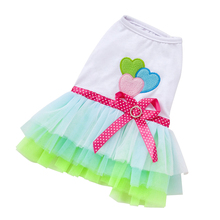 New Summer Style Pet Puppy Small Dog Tutu Dress Cat Lace Skirt Princess Clothes Apparel Costume S,M Red Green
