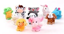 10pcs /lot lovely Plush Toys Dolls Child Baby Favor  Animal Finger Puppet (10 animal group) Children Gift