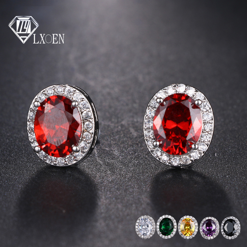 Gold Plated Earring Women Girl Oval Stud Earrings Red Wedding Friendship Gift
