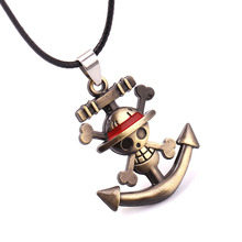 Men's Fashion Anime One Piece Straw Hat Pirates Group Logo Necklace Anchor Skull Pendants Rope Chain Jewelry