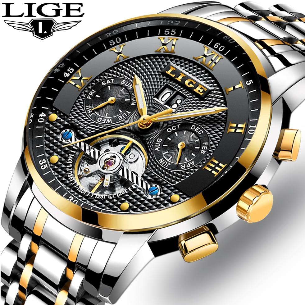 Mens Watches Top Brand LIGE Luxury Automatic Watch Men Full steel Wrist watch Man Fashion Casual Waterproof Clock reloj hombre<br>