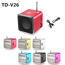 TD-V26 Mini Speaker Portable Digital LCD Sound Micro SD/TF FM Radio Music Stereo Loudspeaker for Laptop Mobile Phone MP3
