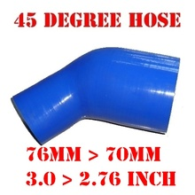 "76 mm > 70 mm, 3.0"" > 2.76"" Inch Silicone Reducer Hose Elbow 45 Degree Reinforced Silicone Intercooler Pipe For Car #24493560609(China)"