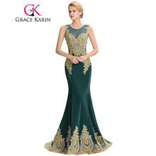 Grace Karin Sleeveless Mermaid Peacock Emerald Green Bridesmaid Dress Appliques Wedding Party Gown 2017 Flannelette Formal Dress(China)