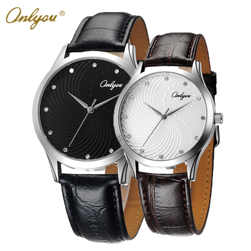 Onlyou Brand Lovers Watch Fashion Women Men Wristwatches With Rhinestones Japan Quartz Leather Male Female Clock Gifts  8821<br>