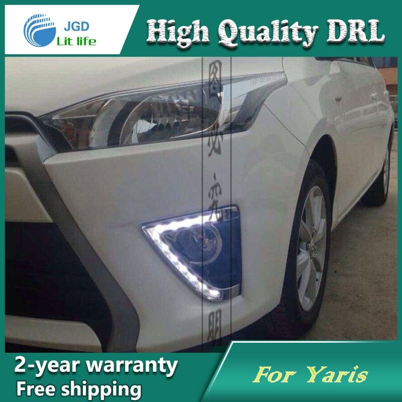 Free shipping ! 12V 6000k LED DRL Daytime running light case for Toyota YARiS 2013 2014 Fog lamp frame Fog light Car styling<br>