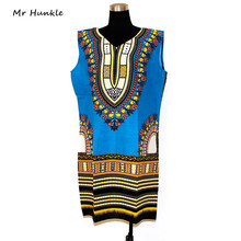Mr Hunkle New Fashion Sexy African Traditional Print Dashiki Bohemian Sleeveless Blue Daisy Dress for lady Slim Fit Dashiki(China)
