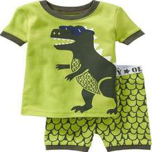 Summer cartoon prined kids pajamas short sleeve dinosaur pijamas kids baby boys pyjamas sleepwear