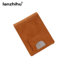 2017 Genuine Leather Wallet Men Slim RFID Blocking Wallet Men's Front Pocket Minimalist Leather Wallets Male Money Card Clip(China)