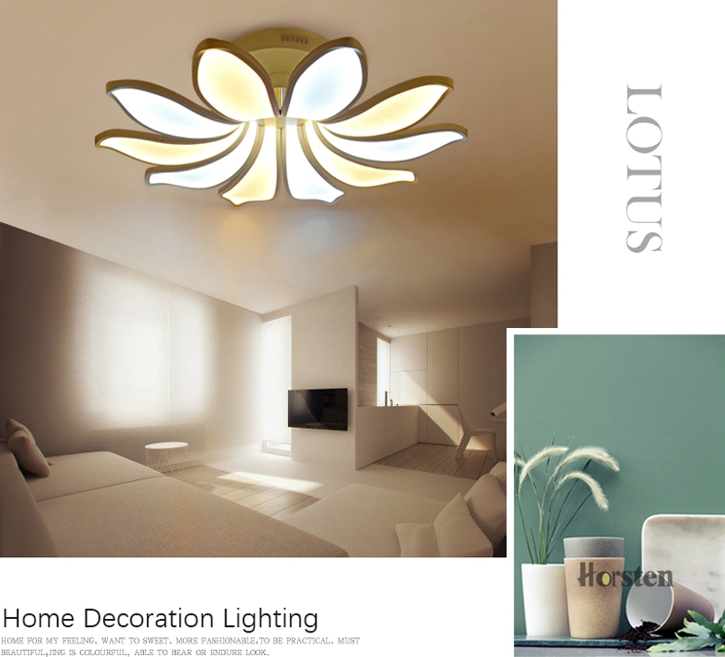 Horsten Simple Flower Acrylic LED Ceiling Light Modern Creative Lotus Ceiling Lamp For Living Room Bedroom With Remote Controller (5)
