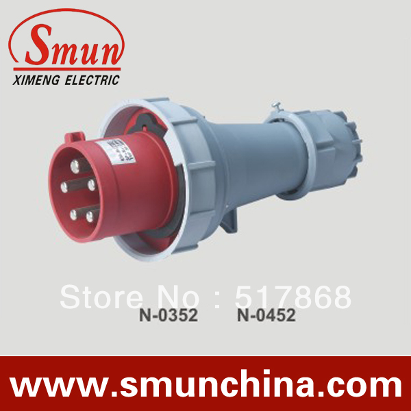 N-0452 125A 220-415V 3P+N+E 5pin Industrial Plug with CE ROHS 1 Year Warranty IP67 Degree PA66<br>