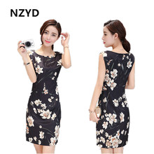 NZYD 2017 summer new European and American large size women's printed O-Neck high-end sleeveless silk dress silk B097