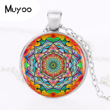 1pcs/lot Buddhism Mandala Logo Pendant Necklace Om Yoga Art Chakra Sacred Geometry Pendant Religious Jewelry Amulet Necklace HZ1(China)