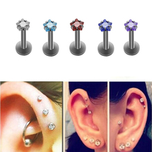 1 Pcs Fashion 16G Round Tragus Lip Ring Monroe Ear Cartilage Earring Body Piercing Jewelry NEW(China)