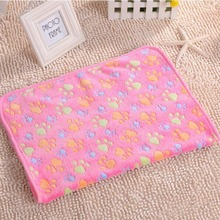 Cute Warm Pet Bed Mat Cover Small Towel Paw Print Bone Cat Dog Fleece Soft Blanket Puppy Cat Hamster Rabbit Winter Pet Supply 9Z(China)