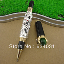 Luxury Golden Chinese Ming Dynasty Emperor Style Dragon Play Jade Ball  Roller Ball Pen Fine Tip