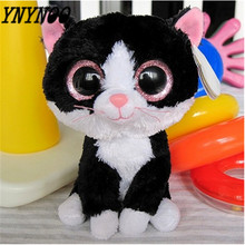 "(YNYNOO)Free shipping - Ty Pepper the Black and White Cat Beanie Boos Stuffed Plush Toy 5"",big eyes soft animal toy,fabric doll"