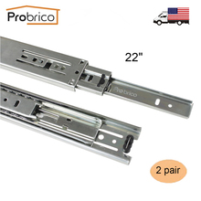 "Probrico 2 Pair 22"" Ball Bearing Slides Kitchen Furniture Drawer Rail DSHH30-22 Steel Full Extension Guides Glides Heavy Duty(China)"