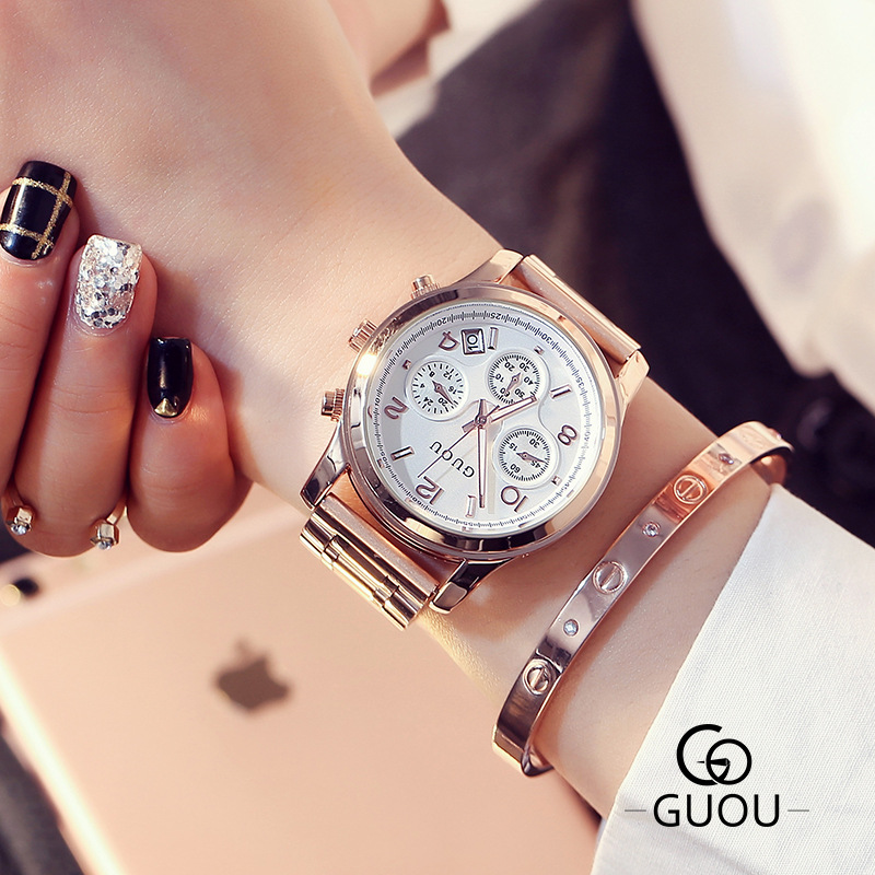 Fashion Luxury GUOU Brand 3 Eyes Stainless Steel Rose Gold Waterproof Quartz Women Wrist Watch Wristwatches 1 Year Warrenty 8175<br>