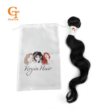 Human Virgin Hair extensions bundles wrapping satin bags, self adhesive wrap stickers,White background satin packing bags labels