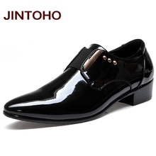 JINTOHO Men Dress Italian Leather Shoes Slip On Fashion Men Leather Moccasin Glitter Formal Male Shoes Pointed Toe Shoes For Men(China)