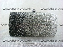 7703 Crystal Black in Gradual change effect Lady Fashion Bridal Party Metal Evening purse handbag clutch bag case