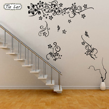 TIE LER Hot Sellings Classical Black Flower Wall Art Living Room Floral Wall Stickers Home Decorations Plant Wall Decals(China)