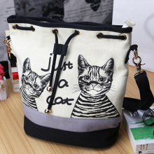Women Bags Spanish Canvas Bucket Bag Handbag Fashion Retro Canvas Women Shoulder Bag Vintage Print Cat Bags Female Bolso