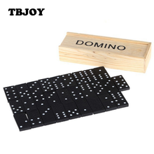 28 Pcs/lot Children Educational Digital Learning Party Fun Board Standard Domino Game Play Set with Wooden Box Puzzles Kids Toys