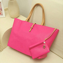 Vintage PU Women Shoulder Bag Casual Fuchsia Office Lady Handbag Women Tote Portable Large Capacity Two-Piece Zipper