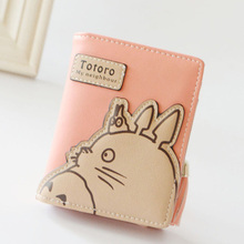 New Fashion Korean Women Wallet Cartoon Animation Small Leather Wallet Cute Totoro Tassels Zipper Clutch Coin Purse Card Holder(China)