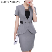 Summer slim women's skirt suits Business formal office ladies elegant short sleeve blazer with skirt plus size 4XL work wear(China)