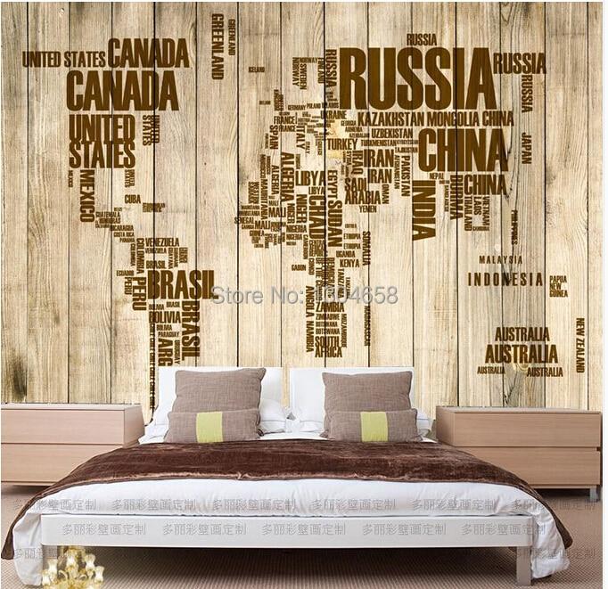 Free shipping custom vintage wooden alphabet English world map large mural wallpaper the living room TV backdrop wallpaper<br>