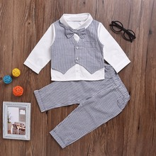 Pusek Baby Boys Clothes Set Fashion Infant Clothing Baby Suits Formal Gentleman Long Sleeve Necktie Wedding Birthday Outfit