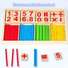 Hot Selling Baby Education Toys Wooden Counting Sticks Toys Montessori Mathematical Baby Gift Wooden Box(China)