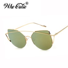 WHO CUTIE 2017 Love Punch Cat Eye Sunglasses Women Retro Vintage Luxury Italian Brand Female Superstar Sun Glasses Shades OM269(China)