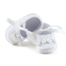 Delebao Christening Baptism Butterflu-knot Flowers Lace-up Newborn Baby Girl Princess Shoes+Baptism Hair Accessory+Baptism Socks(China)