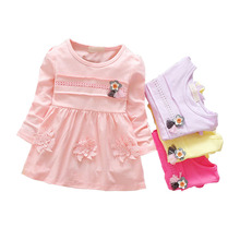 2017 Direct Selling New Girl Dress Autumn Princess Pure Cotton Baby's Clothes, 1-2-3 Years Old Kids Dresses For Girls Wedding(China)