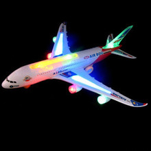 New Flash Light Music Universal Airbus A380 Plane Model Flashing Sound Electric Airplane Kids Toys Gifts Automatic Steering(China)