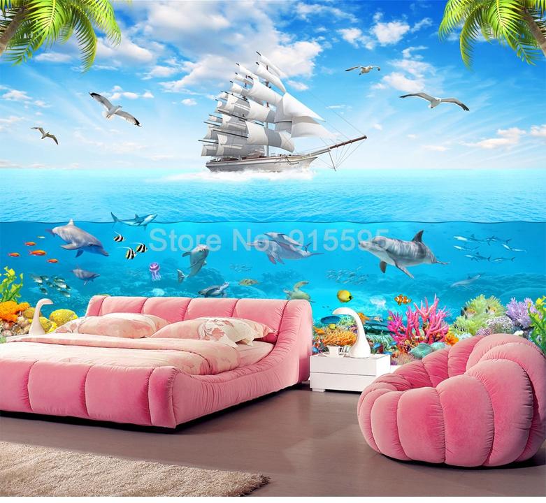 HTB1b6sYRpXXXXXyXFXXq6xXFXXXS - 3D Cartoon Picture Underwater Sailing Dolphin Wall Mural-Free Shipping