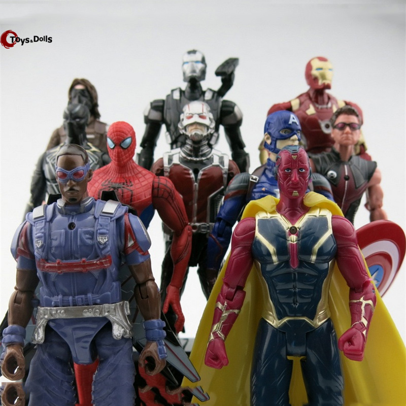 10Pcs/set Avengers Captain America 3 Action Figures Super Hero Spiderman Ant Man Falcons Iron man new movie Collection Toys<br><br>Aliexpress